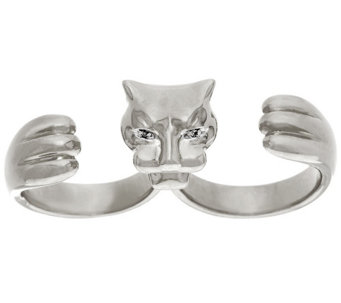 """As Is"" Bronzo Italia Polished Double Finger Panther Ring - J332467"