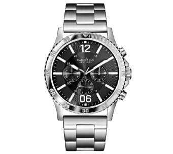 Caravelle New York Men's Black Dial Stainless Steel Watch - J336567