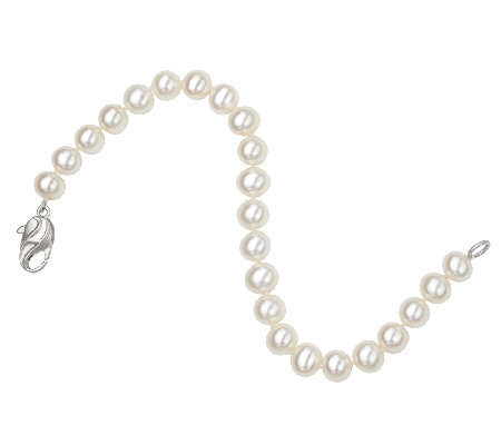 Honora 7-8MM White Cultured Pearl & Sterling Bracelet, 7""
