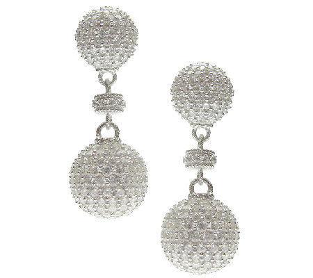 Judith Ripka Sterling Pave Diamonique Ball Drop Earrings