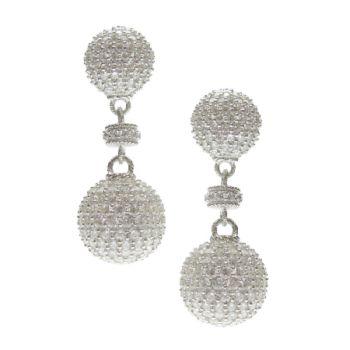 Judith Ripka Sterling Pave Diamonique Ball Drop Earrings