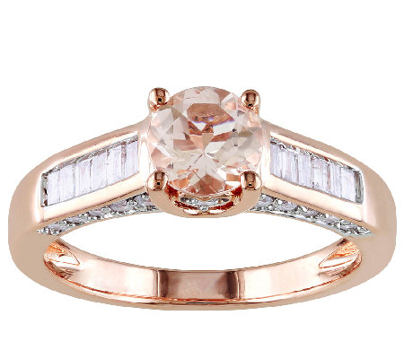0.85cttw Morganite & Diamond Accent Ring, 14K Rose Gold