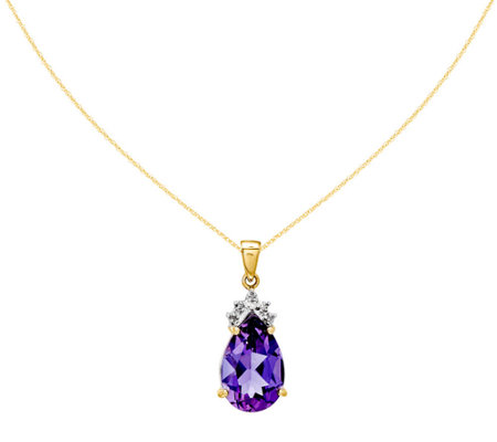 Pear Shaped Gemstone and Diamond Pendant with C hain, 14K Gold