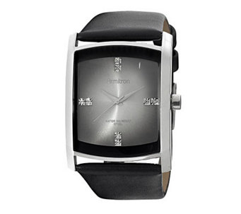 Armitron Men's Crystal Dial Black Leather StrapWatch - J338767
