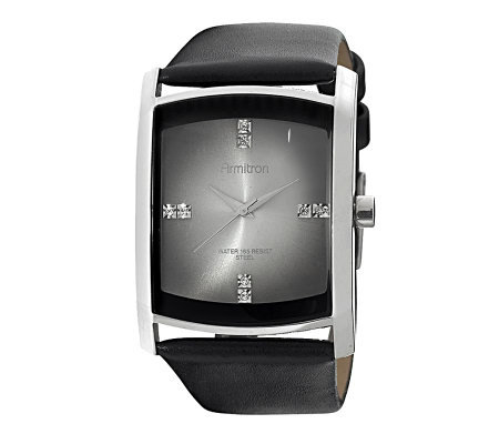 Armitron Men's Crystal Dial Black Leather StrapWatch