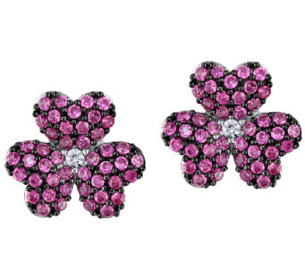 Simulated Pink Sapphire Flower Stud Earrings, Sterling - J339167