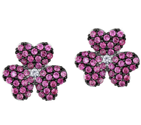 Simulated Pink Sapphire Flower Stud Earrings, Sterling
