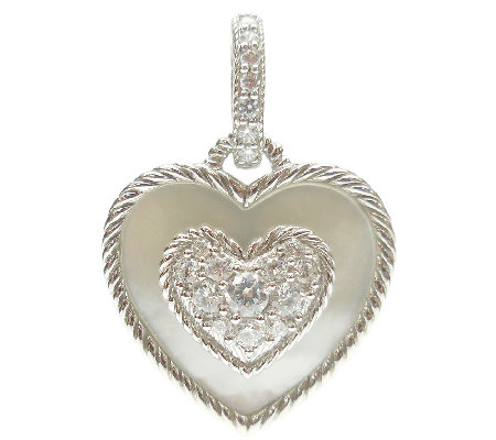 Judith Ripka Sterling Diamonique & Mother-of-Pearl Heart Char