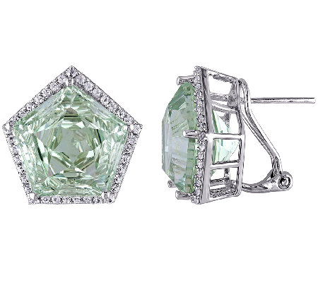 23.25cttw Green Amethyst Fancy-Cut Stud Earrings, Sterling