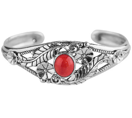 American West Sterling Red Coral Floral Cuff Bracelet