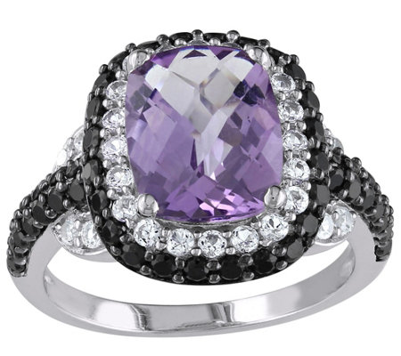 Sterling  2.70 ct Amethyst, Spinel, & SimulatedSapphire Ring