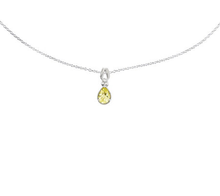 "Sterling Gemstone and Accent Diamond Pendant w/18"" Chain"