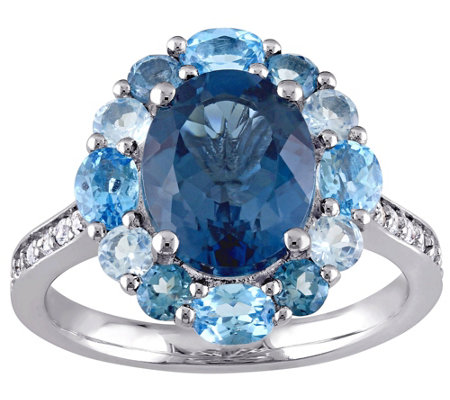 Sterling 5.35 cttw Blue and White Topaz Ring