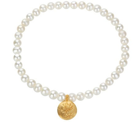 Satya White Cultured Pearl w/ Lotus Flower Stretch Bracelet