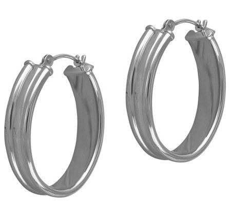 EternaGold Polished Oval Cigar Band Hoop Earrings, 14K