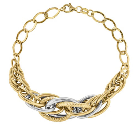 "14K Two-Tone Polished & Textured Interlocking Link 8"" Bracele"