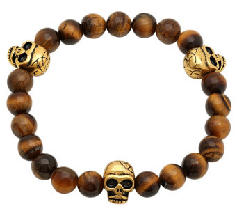 Forza Men's Stainless Tiger Eye Stretch Bracele t w/ Skulls - J343767