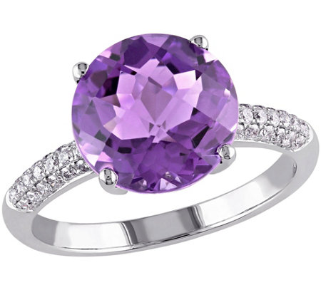 3.75 ct Amethyst & 1/7 cttw Diamond Ring, 14K White Gold