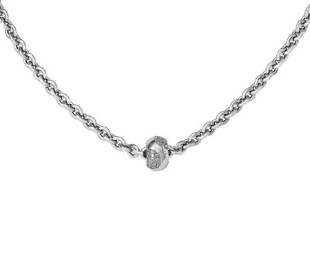 "Sterling Crystal Bead w/ 17-1/2"" Chain"