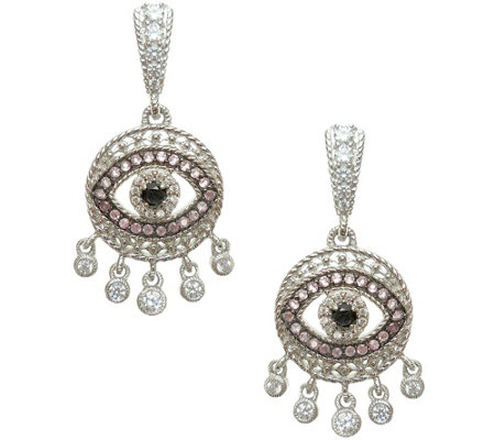 Judith Ripka Sterling Evil Eye Dangle Earrings