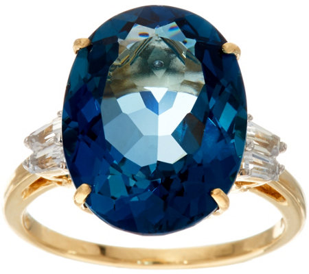 London Blue Topaz & Baguette Sapphire Ring, 14K, 10.55 ct