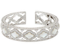 Judith Ripka Sterling Silver Diamonique & Mother of Pearl Cuff Bracelet - J348367