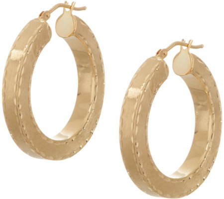 Arte d'Oro Diamond Cut Round Hoop Earrings 18K Gold