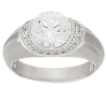 """As Is"" Diamonique Round Ring with Fancy Gallery, Platinum Clad - J350367"