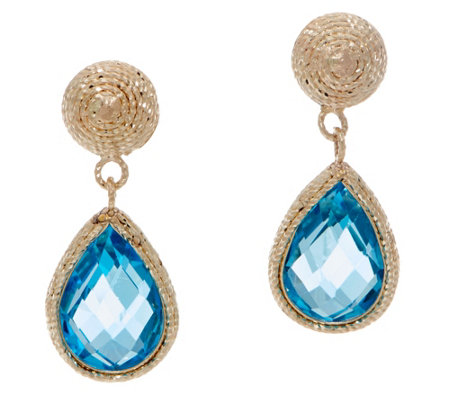 Italian Gold Gemstone Drop Earrings, 14K Gold