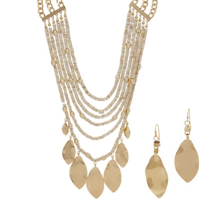 Linea by Louis Dell'Olio Multi Leaf and Bead Necklace and Earring Set