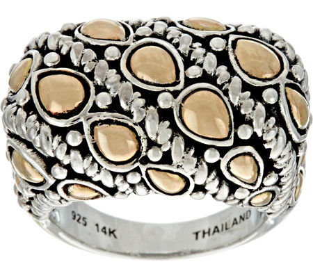 """As Is"" JAI Sterling Silver & 14K Gold Lotus Petal Bold Ring"