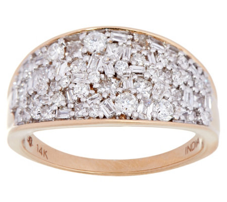 """As Is"" Multi- shape Diamond Band Ring, 14K, 1.00 cttw, by Affinity"