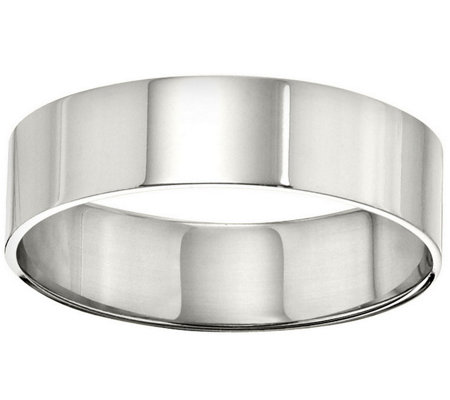 Women's 18K White Gold 6mm Flat Comfort Fit Wedding Band
