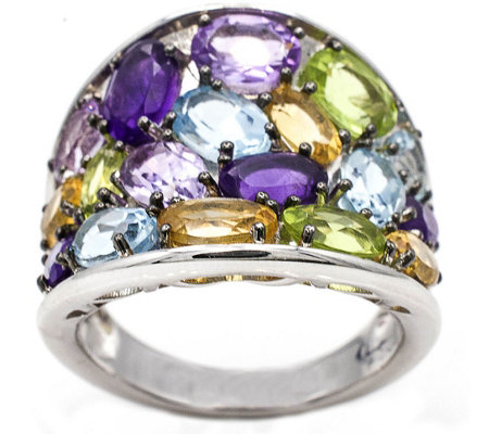 Sterling 6.00 cttw Multi-Gemstone Wide Band Ring