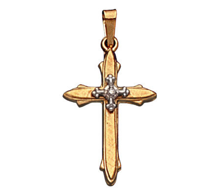 14K Cross Pendant With Diamond Accent