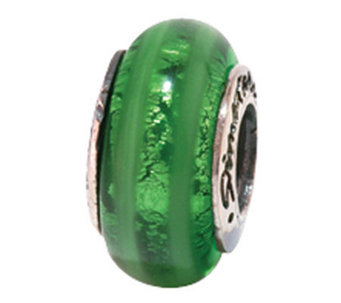 Prerogatives Sterling Vertical Stripe Green Glass Bead - J108868