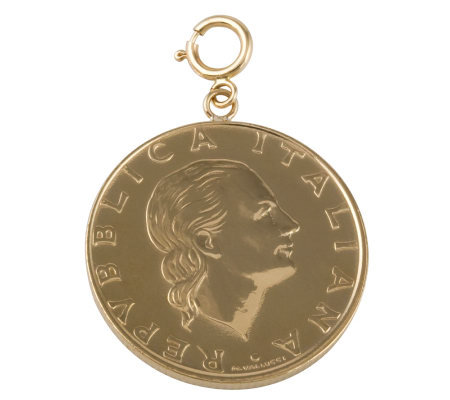 200-Lire Coin Charm, 14K Gold