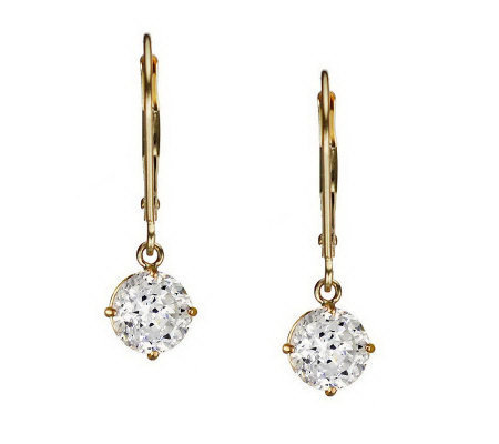 Diamonique 100 Facet 2 ct tw Lever Back Earring s, 14K Gold