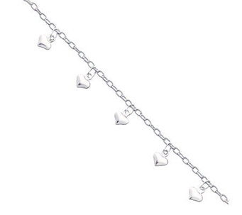 "Sterling 9"" Polished Puffed Heart Anklet - J111368"