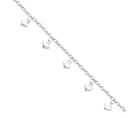 "Sterling 9"" Polished Puffed Heart Anklet"