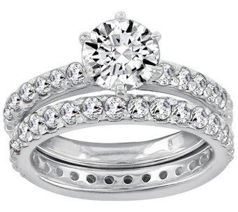 Diamonique 1.90 cttw 2 Piece Round Ring Set, Platinum Clad - J111668