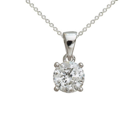 Diamonique 1.50 ct Round Pendant w/ Chain, Platinum Clad