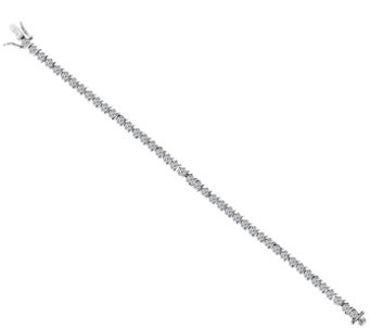 Diamonique Round S-Bar Tennis Bracelet, Platinum Clad - J112968