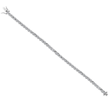 Diamonique Round S-Bar Tennis Bracelet, Platinum Clad