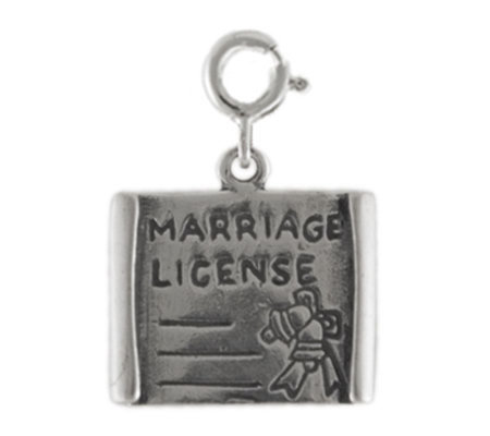 Sterling Marriage License Charm