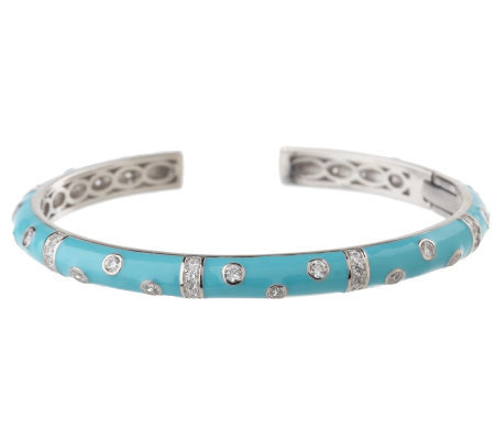Hidalgo Diamonique Sterling Enamel Scattered Stone Bangle