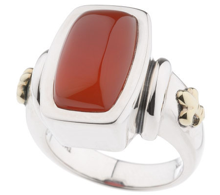 Ann King Sterling/18K Fleur-de-Lis Carnelian Ring