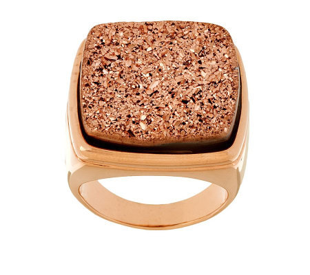 Bronze Bold Cushion Shape Drusy Quartz Ring by Bronzo Italia