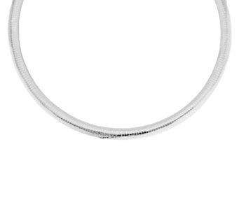 """As Is"" UltraFine Silver 18"" Bold 10mm Omega Necklace, 26.8g - J279868"