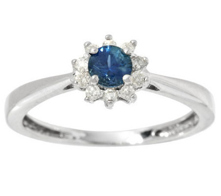 0.20 ct Montana Sapphire & 1/10 ct tw Diamond Ring 14K Gold
